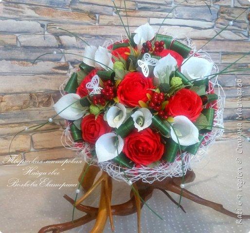 ручной букет с каллами и розами фото 5