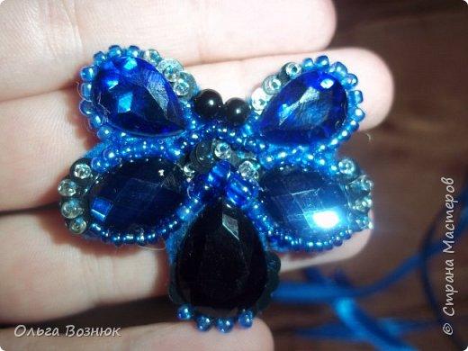 Синя бабочка (брошь) фото 2