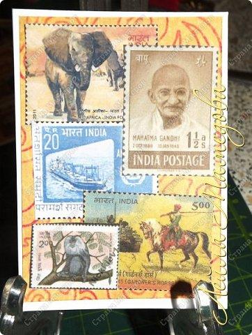 """Девочки, добрый день ! Отгадайте загадку : что путешествует по всему миру и находится всегда в одном углу? Думайте-думайте! Догадались? Правильно, это почтовая марка!!! А вы представляете сколько марок было посвящено Индии. Немало их и выпускается в самой стане. представляю вам серию """"Индия"""". ОЭ - слон. фото 2"""