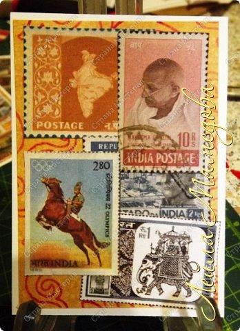 """Девочки, добрый день ! Отгадайте загадку : что путешествует по всему миру и находится всегда в одном углу? Думайте-думайте! Догадались? Правильно, это почтовая марка!!! А вы представляете сколько марок было посвящено Индии. Немало их и выпускается в самой стане. представляю вам серию """"Индия"""". ОЭ - слон. фото 3"""
