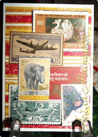 """Девочки, добрый день ! Отгадайте загадку : что путешествует по всему миру и находится всегда в одном углу? Думайте-думайте! Догадались? Правильно, это почтовая марка!!! А вы представляете сколько марок было посвящено Индии. Немало их и выпускается в самой стане. представляю вам серию """"Индия"""". ОЭ - слон. фото 6"""