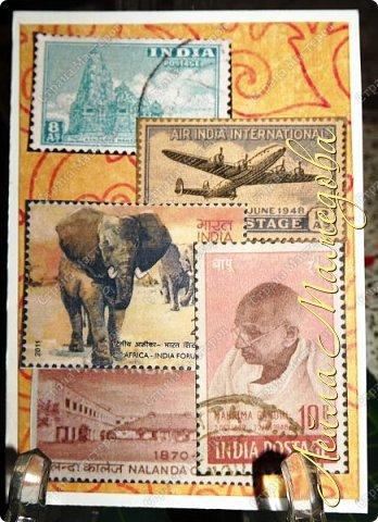 """Девочки, добрый день ! Отгадайте загадку : что путешествует по всему миру и находится всегда в одном углу? Думайте-думайте! Догадались? Правильно, это почтовая марка!!! А вы представляете сколько марок было посвящено Индии. Немало их и выпускается в самой стане. представляю вам серию """"Индия"""". ОЭ - слон. фото 7"""