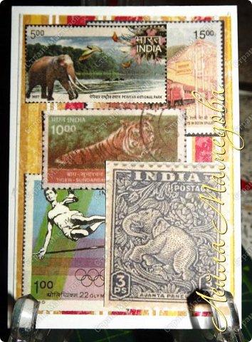 """Девочки, добрый день ! Отгадайте загадку : что путешествует по всему миру и находится всегда в одном углу? Думайте-думайте! Догадались? Правильно, это почтовая марка!!! А вы представляете сколько марок было посвящено Индии. Немало их и выпускается в самой стане. представляю вам серию """"Индия"""". ОЭ - слон. фото 8"""