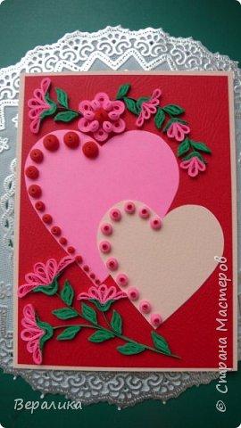 Для трех молодых сестричек сделала на Валентинов день вот такие три открыточки. Подарила и забыла про них. А сегодня случайно нашла их фото. фото 1