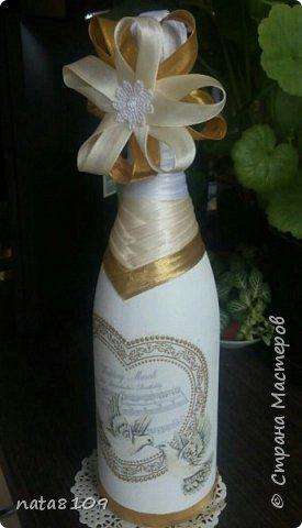 Приветствую вас дорогие друзья!   Подруга попросила оформить бутылочку на свадьбу. Пожеланий особых не было,  делала все на своё усмотрение.  фото 1