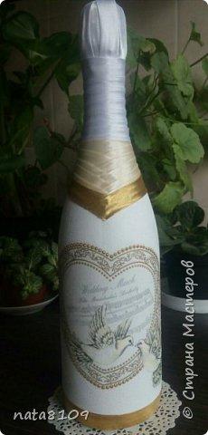 Приветствую вас дорогие друзья!   Подруга попросила оформить бутылочку на свадьбу. Пожеланий особых не было,  делала все на своё усмотрение.  фото 2