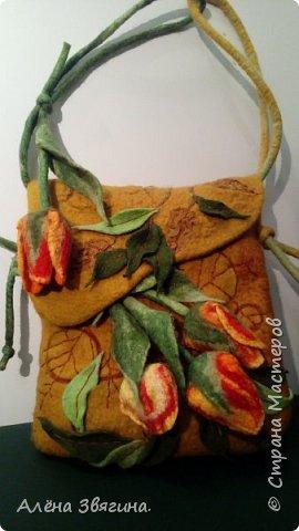 Валяния сумка ,,тюльпаны,, фото 3