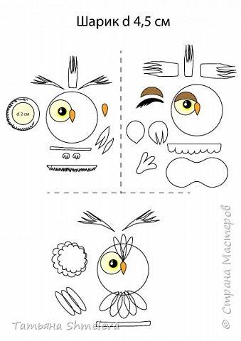 Разные варианты как можно сделать из фома (фоамирана) милых совушек в виде брошки, магнитиков, украшений. Материалы: Пенопластовый шарик 4,5 см Фом любых цветов Акриловые краски Инструменты: Ножницы Клей-пистолет фото 2