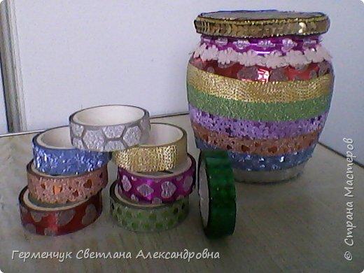 Карандашница  выполнена из стеклянной банки и декоративного скотча фото 8
