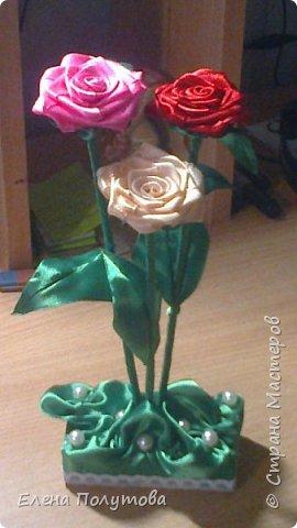 Роза из капроновой ленты №1 фото 5