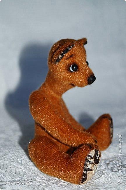 Миша Потап. Игрушка ростом около 15 см (стоя), сшита из меха с коротким ворсом, носик из натуральной кожи, лапки подвижны, одежда снимается. фото 3