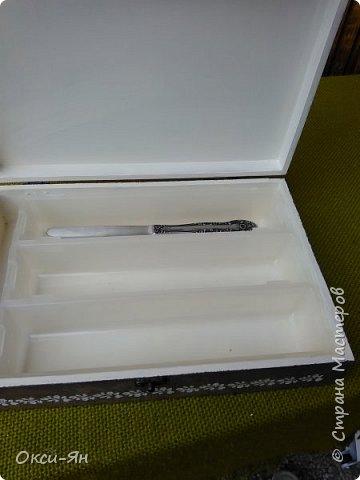 Перед ракушками хочу показать коробку для приборов,которую я сделала вместо разорванной картонной коробки. фото 3