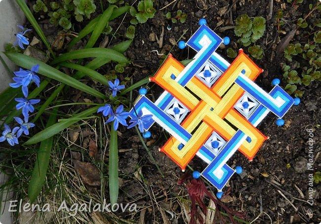 Тибетская мандала, Узел счастья или Узел бесконечности , сплелась на приход Весны и Возрождение природы. Как раз закончила и потеплело... фото 3