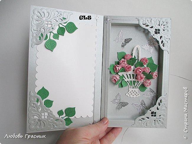 Открытка-коробочка для поздравления. Слева, на белой подложке будет поздравление или фото именинницы (дарители решат сами) фото 1