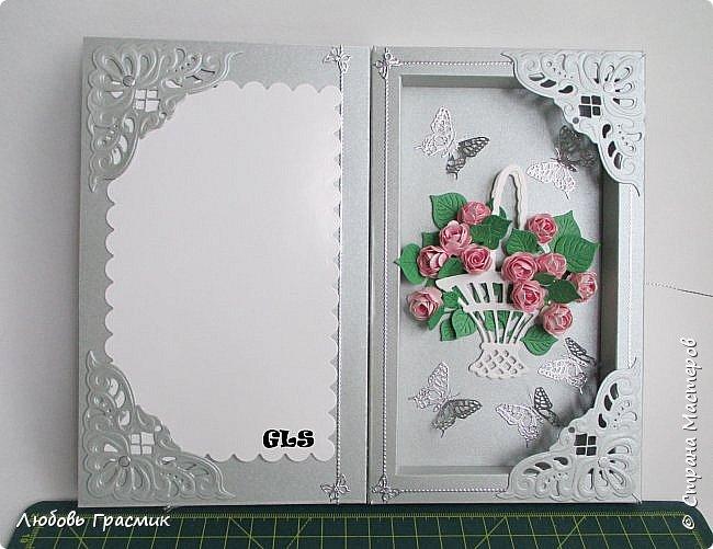 Открытка-коробочка для поздравления. Слева, на белой подложке будет поздравление или фото именинницы (дарители решат сами) фото 3