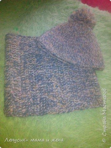 Комплект шапка и шарфик фото 1