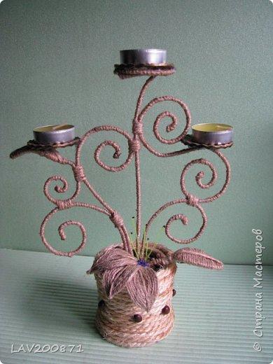 проволока, джут. кофе, клей. большие пуговицы для подставки под свечечки и разный декор.... фото 4