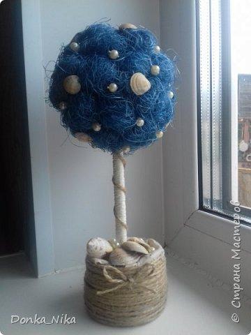 "синее ""дерево счастья"" с ракушками фото 1"