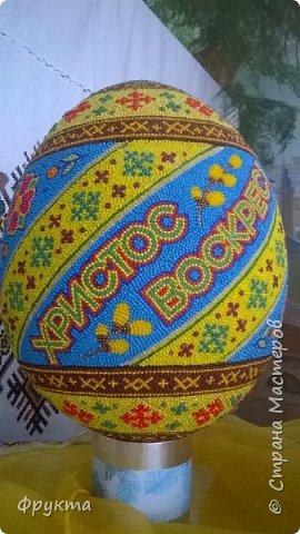Знакомьтесь. Иван Грыма, житель города Новый Роздол Львовской области. Все эти пасхальные яйца выточены из пенопласта, покрыты отшлифованной шпаклевкой. Затем мастер нанес рисунок на поверхность яйца. А потом, не поверите... каждую, понимаете, КАЖДУЮ!!! бисерину мастер опускал в клей ПВА и приклеивал на поверхность яйца! Я даже подумать боюсь, сколько потребовалось времени, терпения, точности движений для создания каждой писанки. Невероятный талант! Учитывая, что пан Иван нигде не учился рисовать, и его никто не учил как компоновать элементы рисунка, при том, что никто не учил мастера основам живописи... результат вы видите своими собственными глазами! Сам, своим талантом и разумением великолепный мастер делает такую красоту. Смотрите! И восхищайтесь вместе со мной! фото 11