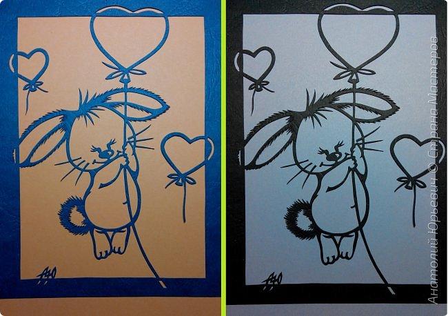 """Всем добрый день! Вашему вниманию новая открытка, которая  порадует не только детей, но и взрослых:)) Рисунок для эскиза был взят из интернета, немного изменён (мордашка была там слишком грустная) и доработан под """" вырезалку"""". Размер 12х16 см. фото 9"""