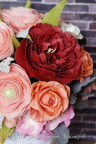Здравствуйте!  Я как всегда  с фоамирановыми цветами!  Приглашаю к просмотру.  Букет из 15 полноразмерных роз.  фото 27