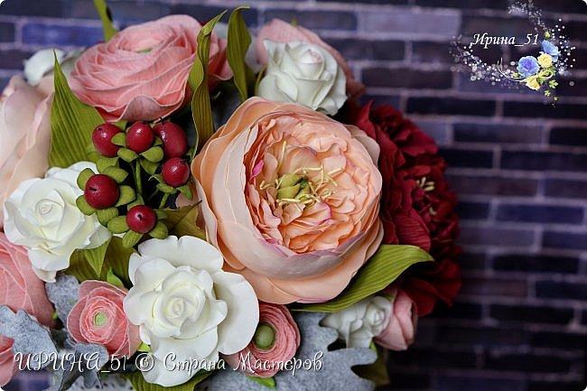 Здравствуйте!  Я как всегда  с фоамирановыми цветами!  Приглашаю к просмотру.  Букет из 15 полноразмерных роз.  фото 24