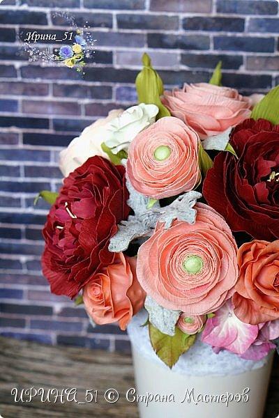 Здравствуйте!  Я как всегда  с фоамирановыми цветами!  Приглашаю к просмотру.  Букет из 15 полноразмерных роз.  фото 21