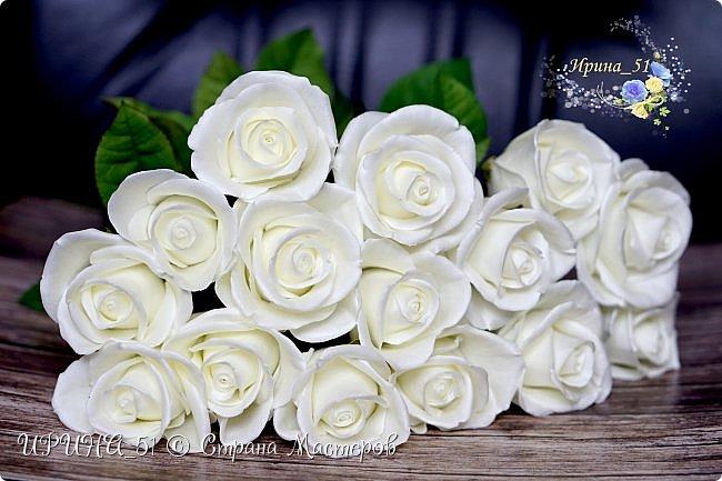 Здравствуйте!  Я как всегда  с фоамирановыми цветами!  Приглашаю к просмотру.  Букет из 15 полноразмерных роз.  фото 6