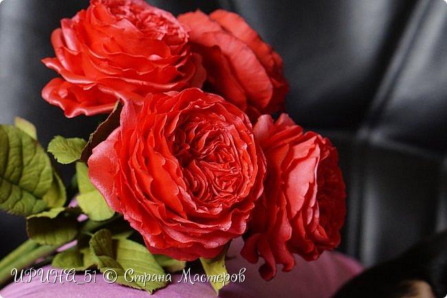 Здравствуйте!  Я как всегда  с фоамирановыми цветами!  Приглашаю к просмотру.  Букет из 15 полноразмерных роз.  фото 16