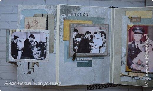 Альбом для папы на 55-летие. Вмещает 70 фото размеров 8*10. Размер страниц 21*14,5, обложки - 21,5*15 фото 11