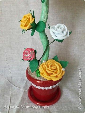 Топиарий с розами из фоамирана  фото 2