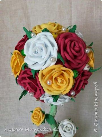 Топиарий с розами из фоамирана  фото 3