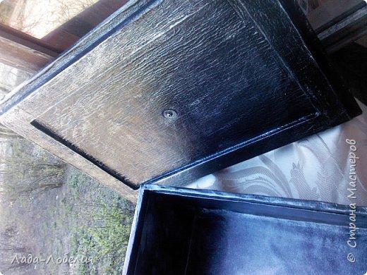 Шкатулка довольно большая- 36Х26Х12,5, цвет черно-стальной. фото 4