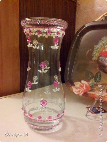 """обклеила вазу из """"Икеи"""" стразами; получилось так фото 1"""