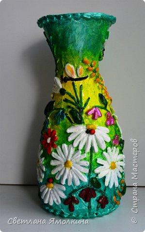 """Здравствуйте! Сегодня я с декоративной вазой папье-маше, ее высота 26 см. Для декора использовала: клей """"Титан"""", два вида семян подсолнуха, фасоль, зерна кофе (серединки у ромашек), черный перец горошком (глаза у стрекозы, букашки), скорлупу от фисташек, шпагат.Вся ваза покрыта акриловым глянцевым лаком. фото 3"""