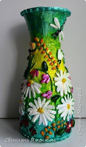 """Здравствуйте! Сегодня я с декоративной вазой папье-маше, ее высота 26 см. Для декора использовала: клей """"Титан"""", два вида семян подсолнуха, фасоль, зерна кофе (серединки у ромашек), черный перец горошком (глаза у стрекозы, букашки), скорлупу от фисташек, шпагат.Вся ваза покрыта акриловым глянцевым лаком. фото 4"""