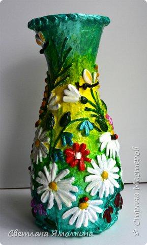 """Здравствуйте! Сегодня я с декоративной вазой папье-маше, ее высота 26 см. Для декора использовала: клей """"Титан"""", два вида семян подсолнуха, фасоль, зерна кофе (серединки у ромашек), черный перец горошком (глаза у стрекозы, букашки), скорлупу от фисташек, шпагат.Вся ваза покрыта акриловым глянцевым лаком. фото 5"""