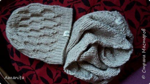 В подарок зятю связала такой комплект из оставшихся от свитера ниток. Пряжа LANAGOLD PLUS (Alize), 100г=140м, 49% шерсти и 51% акрила. фото 1