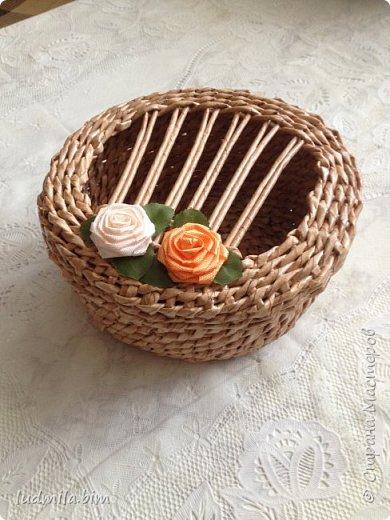 хлебница в традиционном плетении веревочкой фото 2