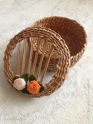 хлебница в традиционном плетении веревочкой фото 3