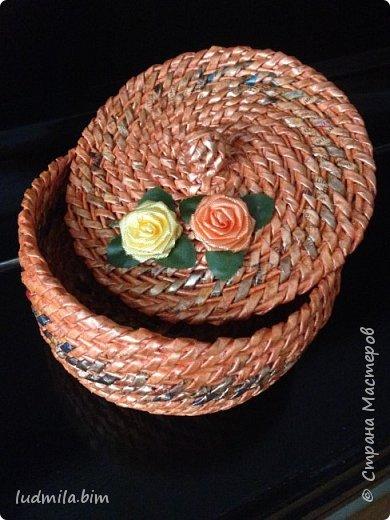 хлебница в традиционном плетении веревочкой фото 4