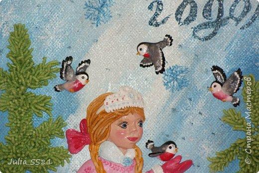 """Вот такую """"открытку"""" формата А3 из соленого теста делала дочке в детский сад на Новый 2016 год. фото 8"""