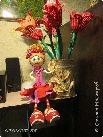 Здравствуйте. Сегодня я покажу вам куколку, которую сделала по МК  http://stranamasterov.ru/node/1096393?c=favusers  Татьяны Шмелевой.  Первая и самая любимая.  Процесс затягивает. фото 5