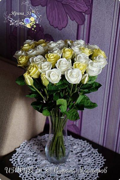 Букет роз. Количество 31шт (не считая бутонов). Выполнены из зефирного фома. Листья - иранский фоамиран. фото 16