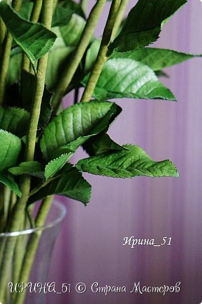 Букет роз. Количество 31шт (не считая бутонов). Выполнены из зефирного фома. Листья - иранский фоамиран. фото 11