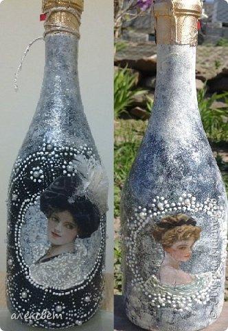 Здравствуйте. Вот такую бутылочку задекупажировала для хорошего человека. фото 2