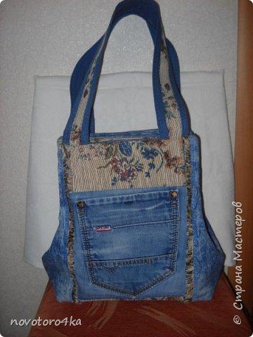сумка джинсы+кусочек гобелена  фото 1