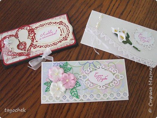 Всем привет! Покажу конвертики на заказ- три свадебных и один -на годик мальчику фото 1