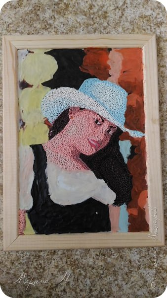 Решила подарить своей коллеге на юбилей ее объединения портрет. Делала, конечно, в своей любимой технике - обратная аппликация пластилином фото 3