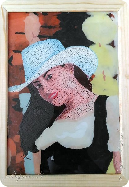 Решила подарить своей коллеге на юбилей ее объединения портрет. Делала, конечно, в своей любимой технике - обратная аппликация пластилином фото 1